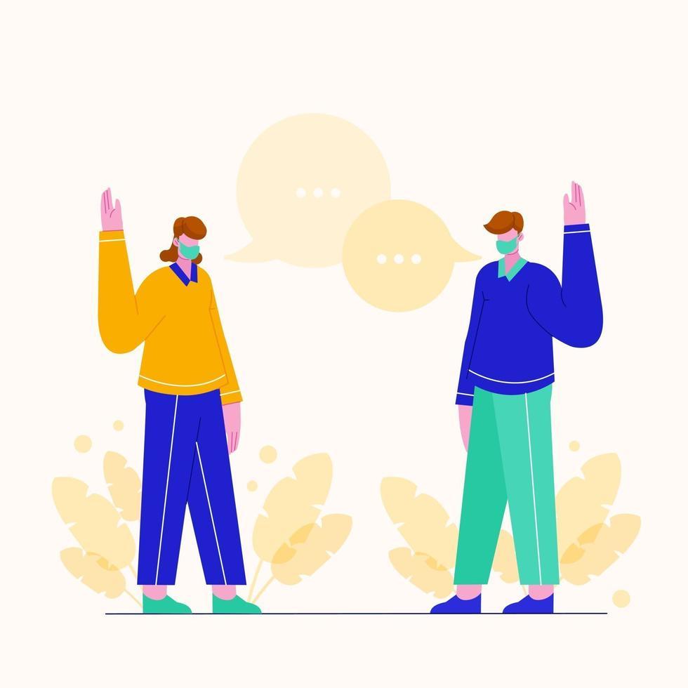 Vektorillustration junge Leute grüßen, aber schütteln sich nicht gegenseitig die Hand. Prävention von Coronavirus. flacher Cartoon. vektor