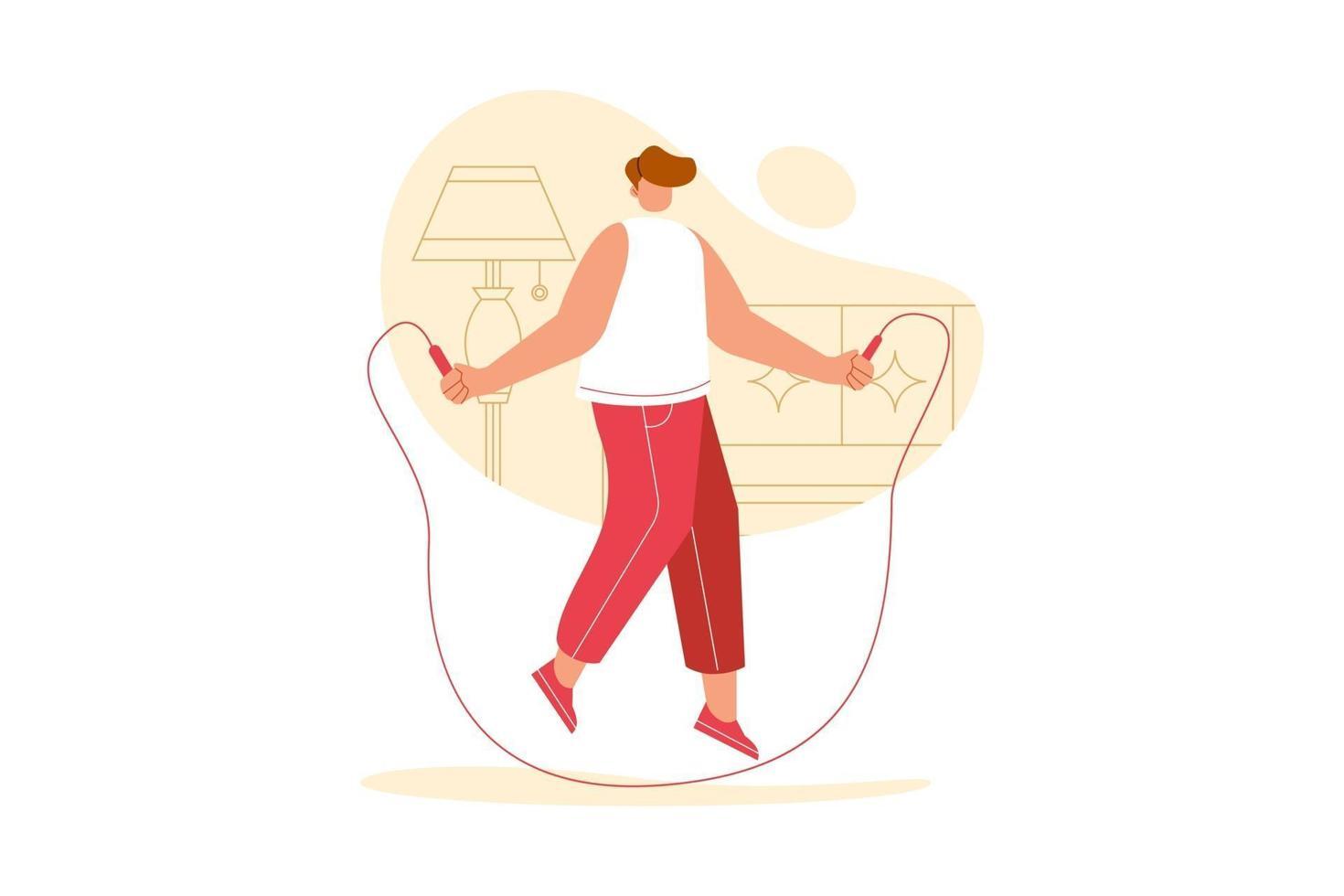 vektorillustration av människor som hoppar över rep hemma. utöva tecknad koncept. vektor