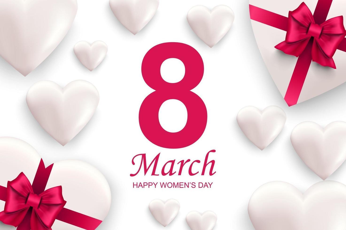 glückliche Frauentagsgrußkarte. weiße Herzen mit rosa Schleifen. vektor