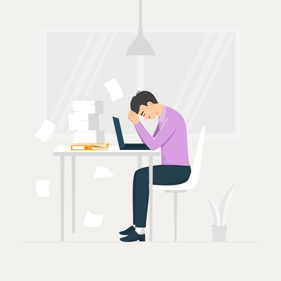 stressad ung manlig anställd på arbetsplatsen. överansträngt koncept. vektor