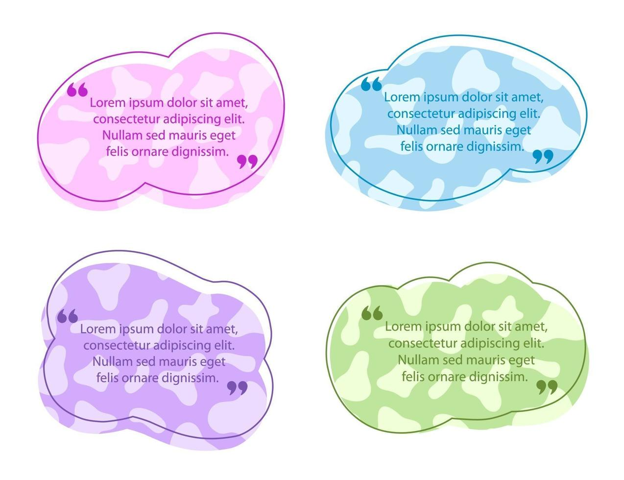 färgad citat pratbubbla mall vektor
