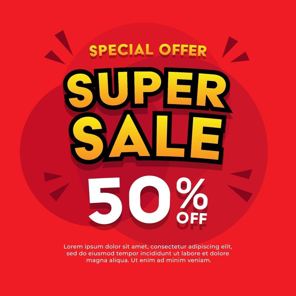 super försäljning banner. försäljning banner mall design. vektor