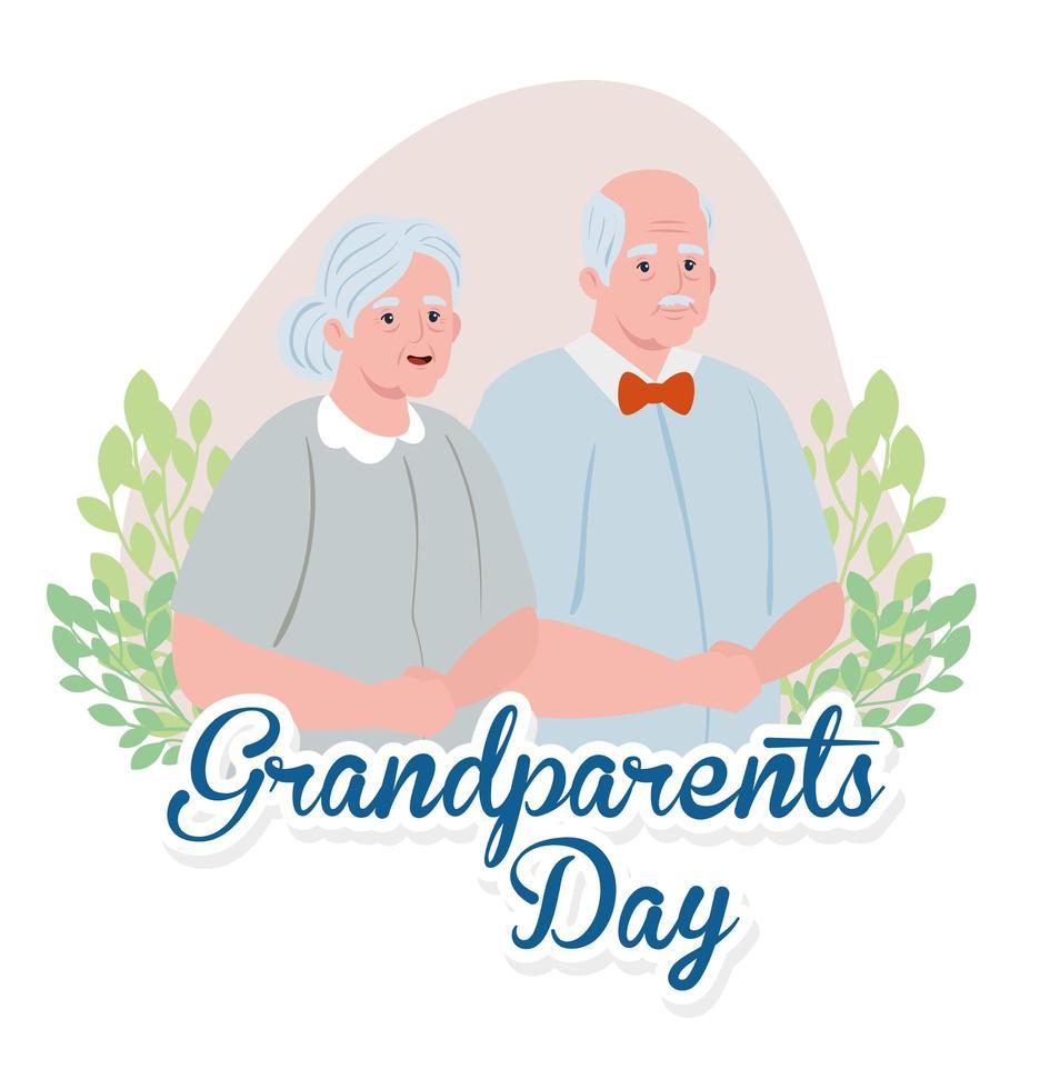 lycklig morföräldrars firande banner med en söt äldre par vektor