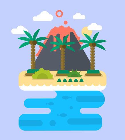 platt tropisk ö vektor