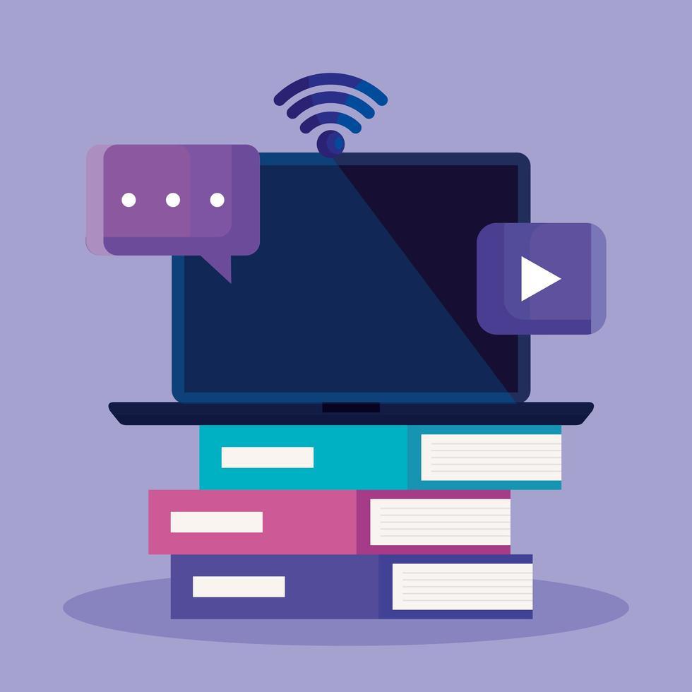 online utbildningsteknik med en bärbar dator vektor