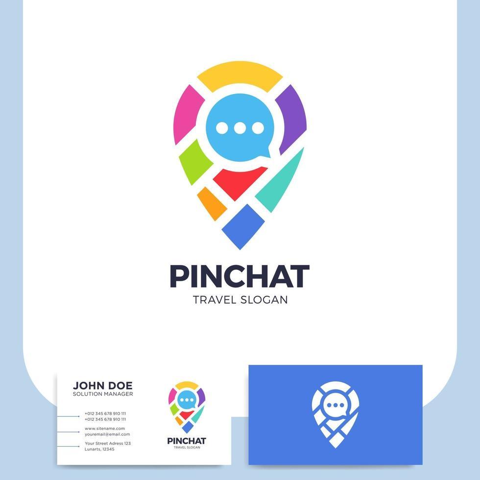 pin stadskarta och chatt ikon och visitkort vektor