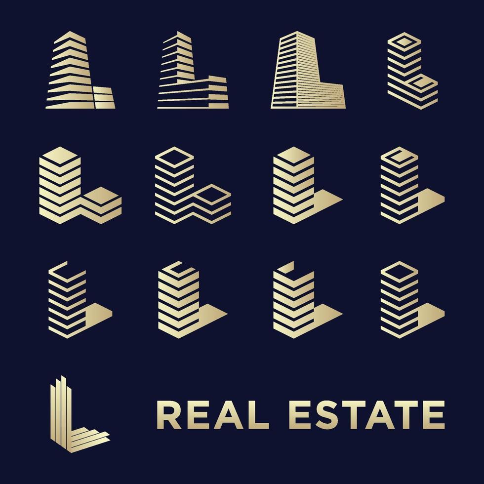 Bauen Sie ein einfaches Icon-Set und den Buchstaben l für Immobilien vektor