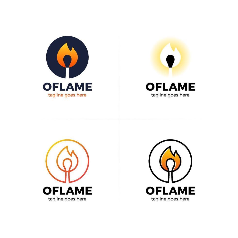 Flammen-Match-Buchstabe o Logo-Set vektor