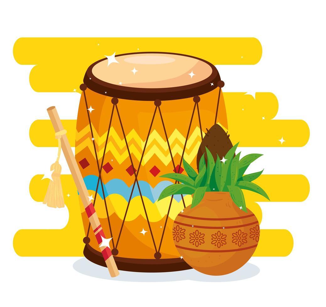 navratri hinduiska firande affisch med trumma och dekorationer vektor