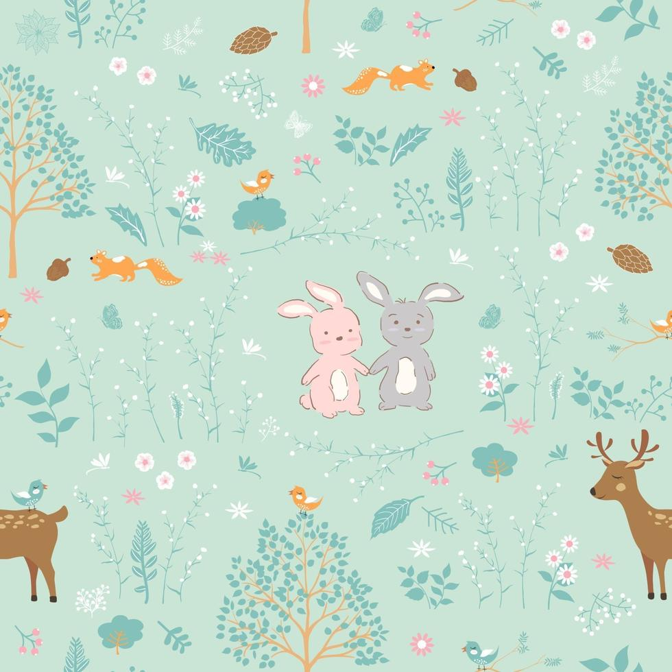 skog på våren med söta djur sömlösa mönster vektor