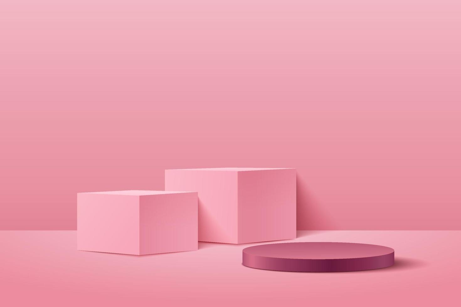 abstrakt kub och rund skärm för produkt på webbplatsen i modern. bakgrunds rendering med pallen och minimal rosa textur vägg scen, 3d-rendering geometrisk form röd rosa färg. vektor eps10