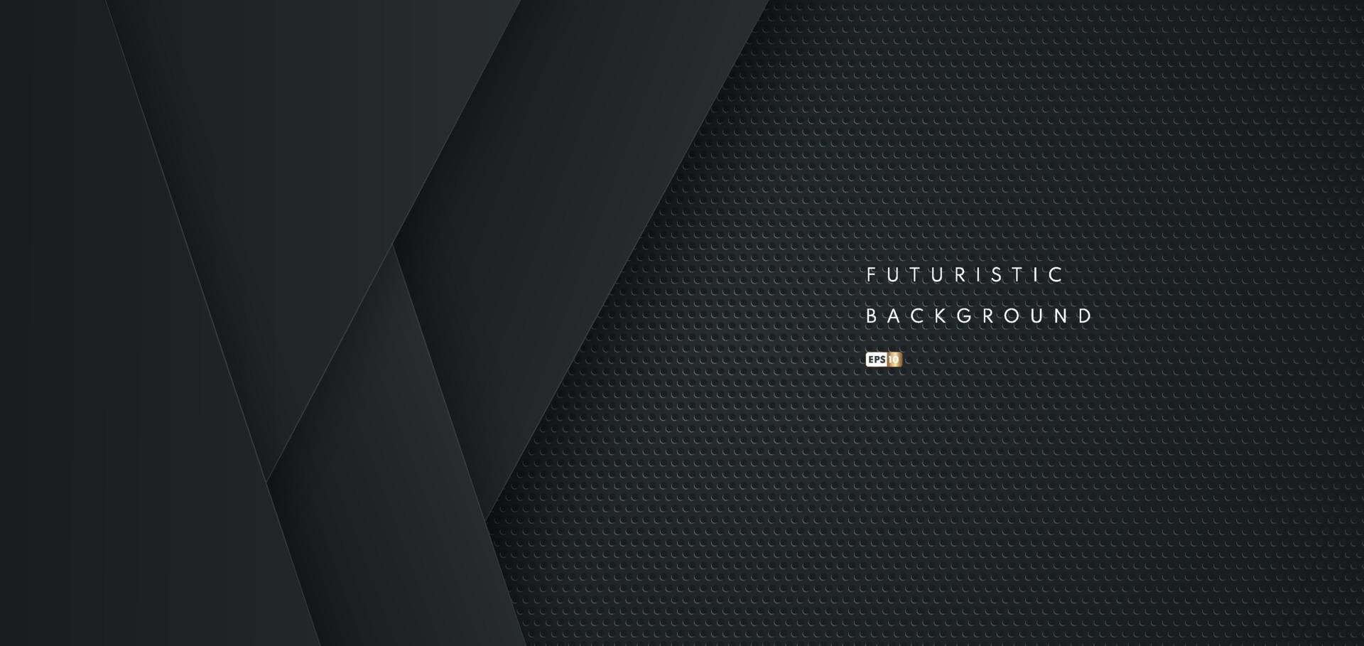 abstrakter futuristischer schwarzer geometrischer Formhintergrund mit Metallbeschaffenheit. Design für Präsentation, Banner, Cover, Web, Flyer, Karte, Poster, Spiel, Textur, Folie und Powerpoint. Vektorillustration vektor
