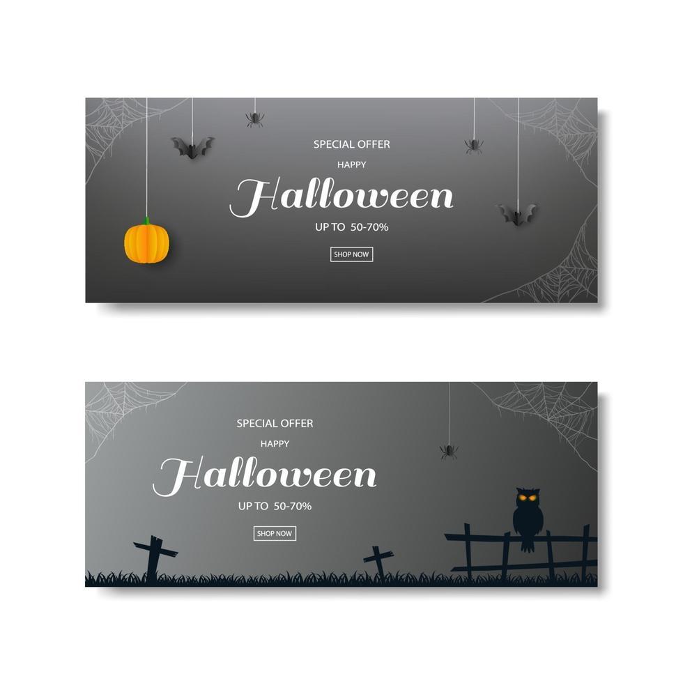 samling av halloween försäljningsbannrar med mörka bakgrunder vektor