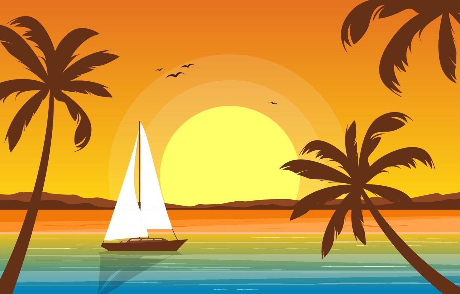 semester i tropiskt strandlandskap med palmer vektor