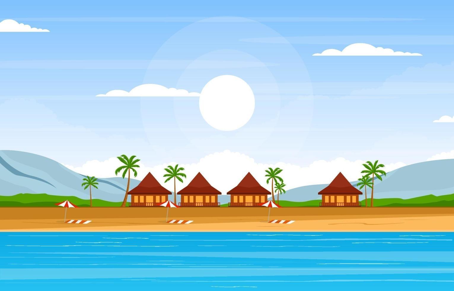 sommarsemester i tropiskt strandlandskap vektor