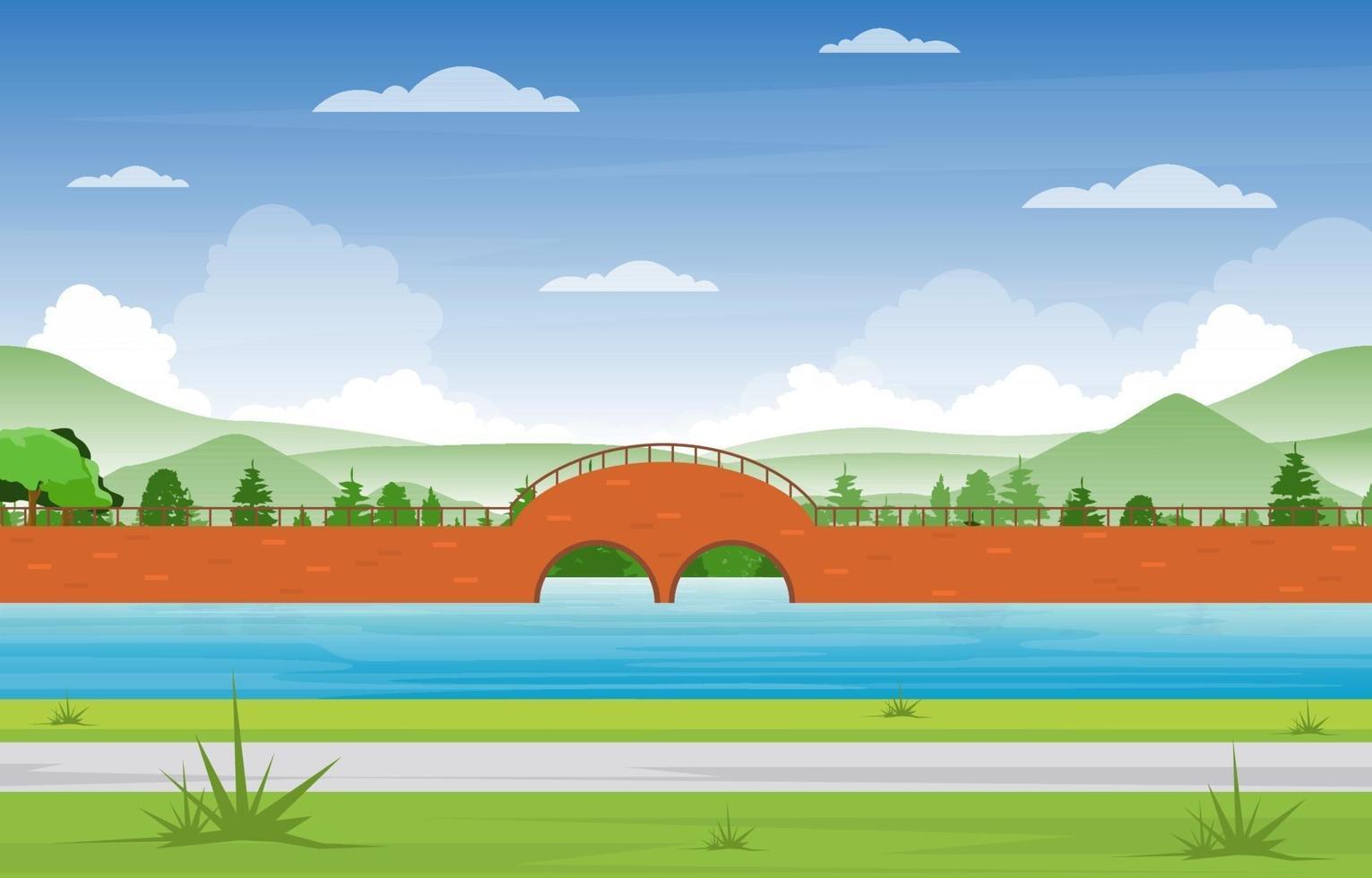 bro med park, träd och flodillustration vektor