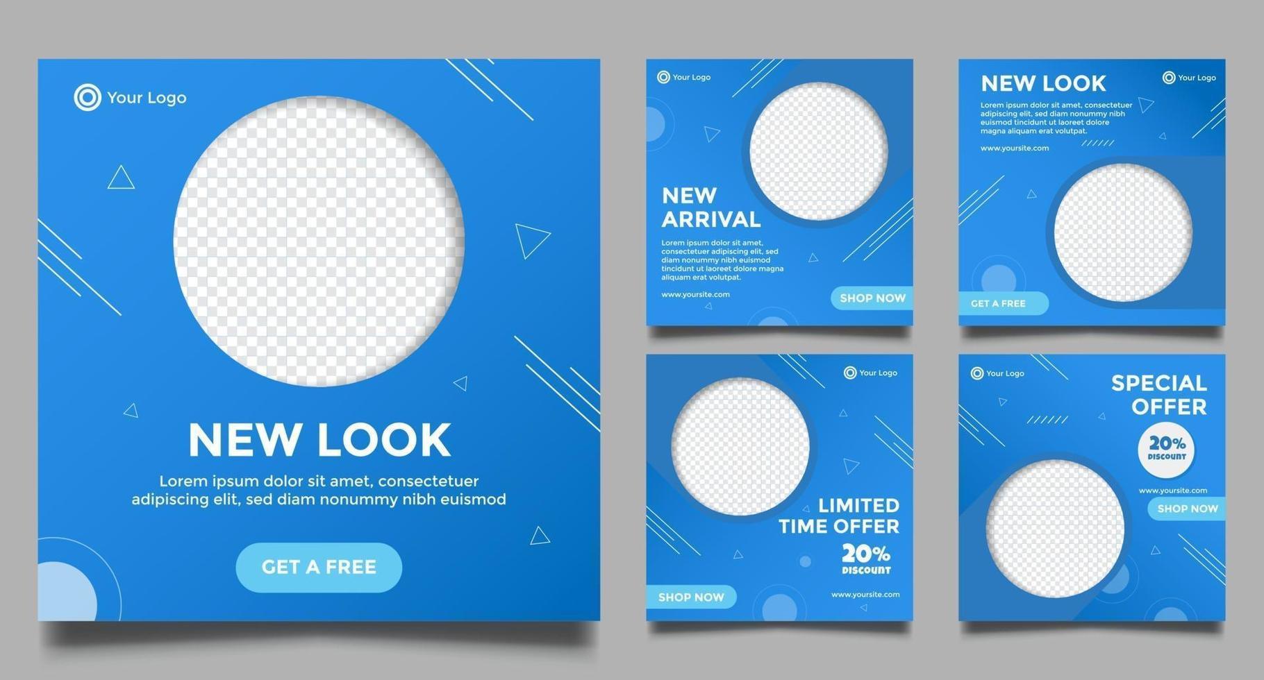 abstrakt minimal fyrkantig banner promo mallar set vektor