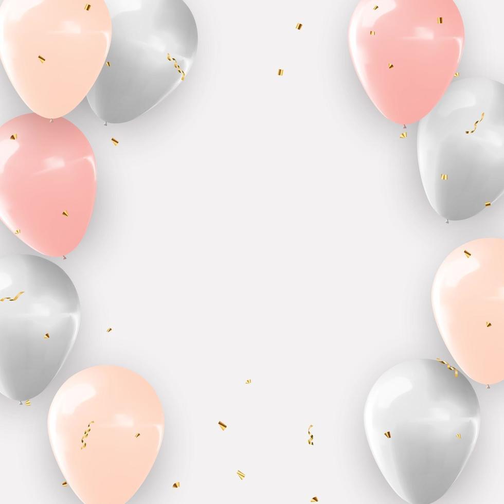 realistischer 3D-Ballonhintergrund für Partei, Feiertag, Geburtstag, Werbekarte, Plakat. Vektorillustration vektor