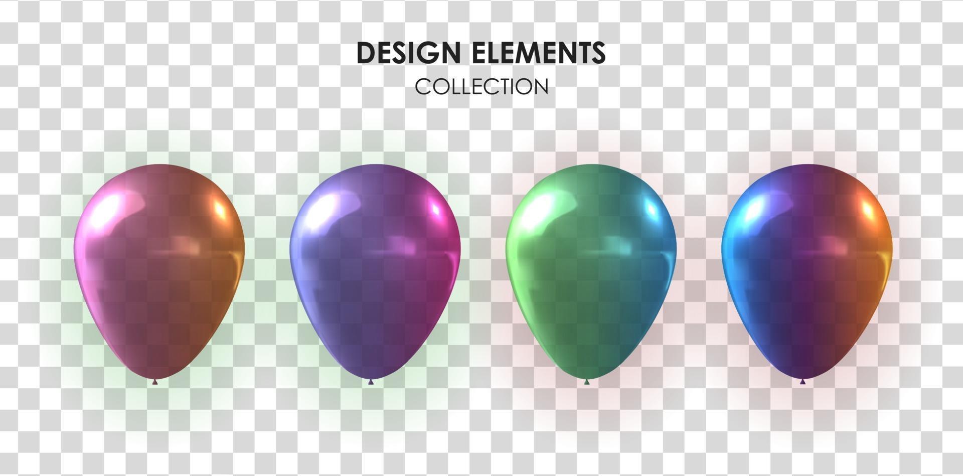 realistische 3D-Ballonsammlung für Party, Urlaub. vektor
