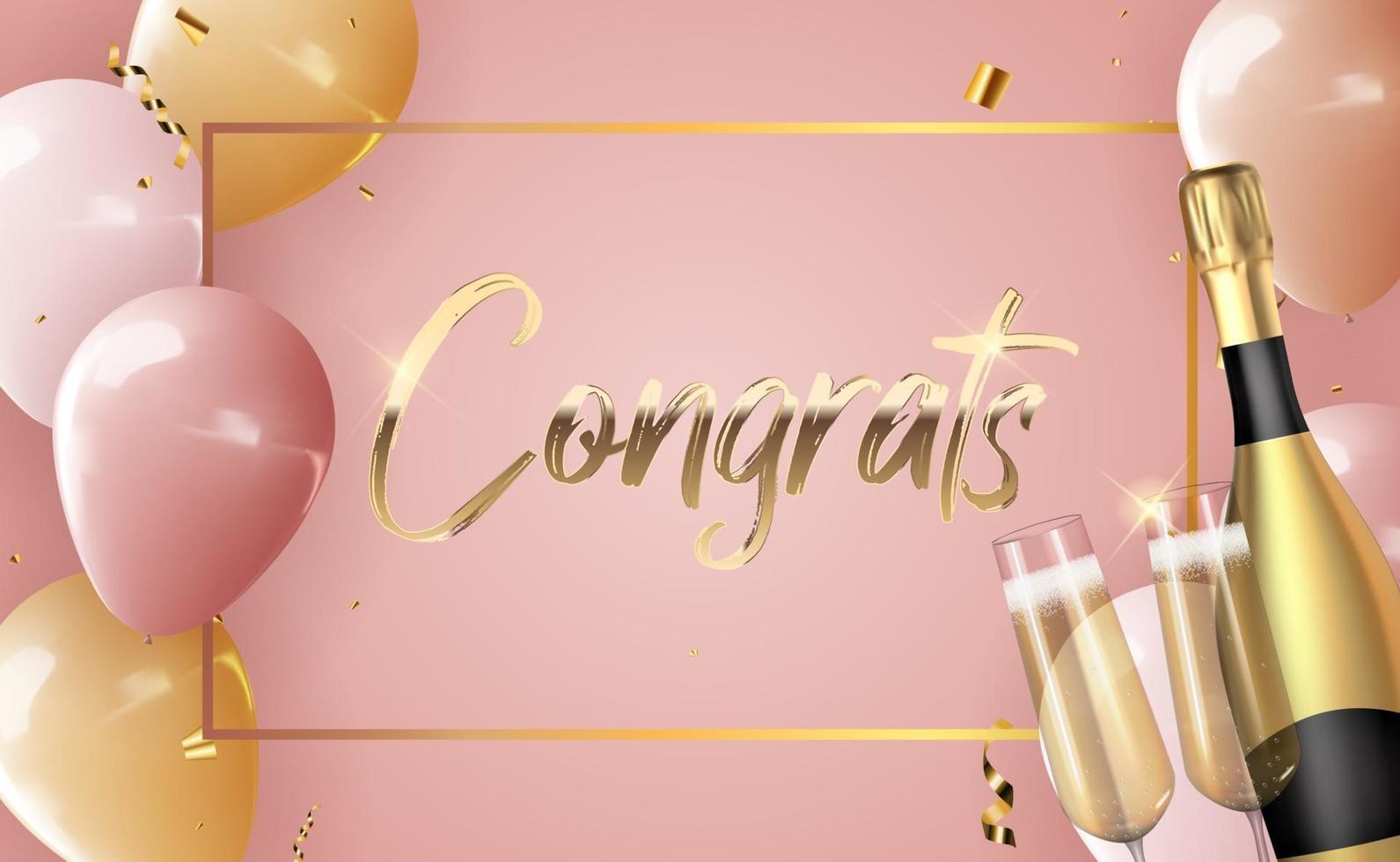 realistischer 3d Ballon gratuliert Hintergrund mit Flasche Champagner und einem Glas für Party, Feiertag, Geburtstag, Werbekarte, Plakat. Vektorillustration vektor