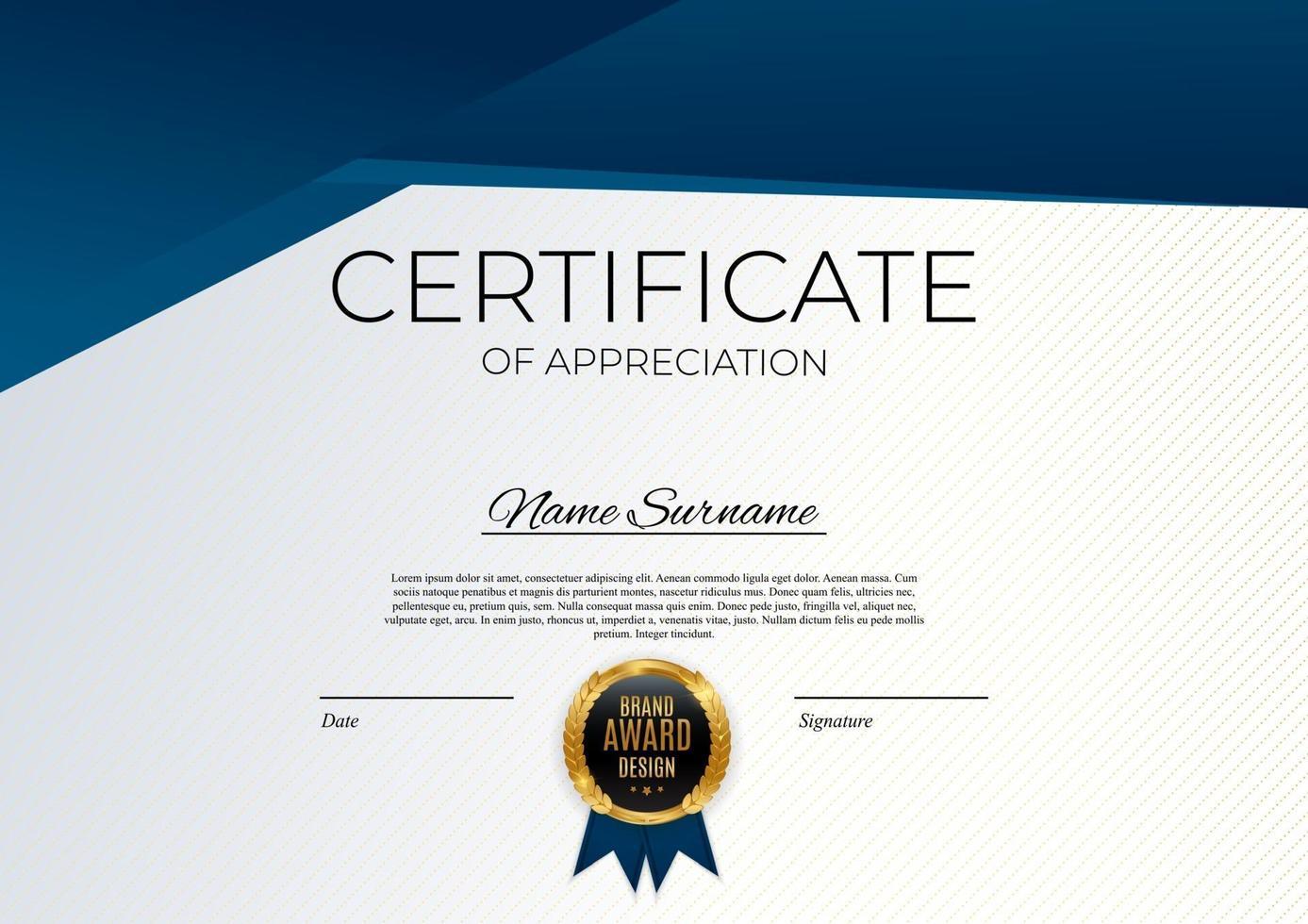 Blau und Gold Zertifikat der Leistungsvorlage setzen Hintergrund mit goldenem Abzeichen. Auszeichnung Diplom Design leer. Vektorillustration vektor