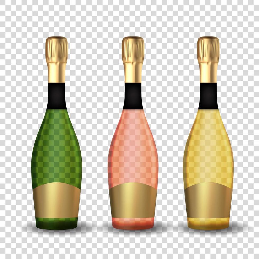 realistische 3d goldene, rosa und grüne Champagnerflaschensatzikone isoliert. vektor