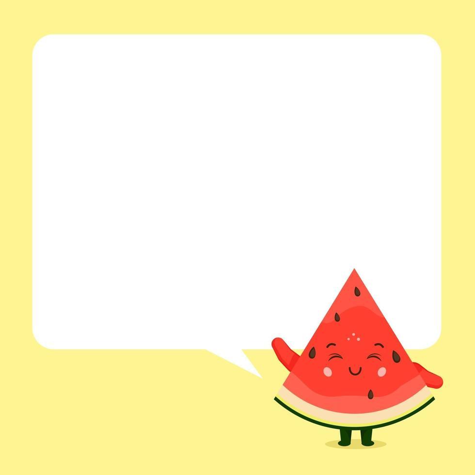 süße Wassermelone mit Sprechblase vektor