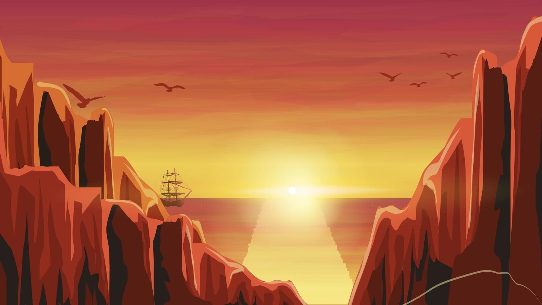 orange Sonnenuntergang im Meer mit altem Schiff. Vektorillustration vektor