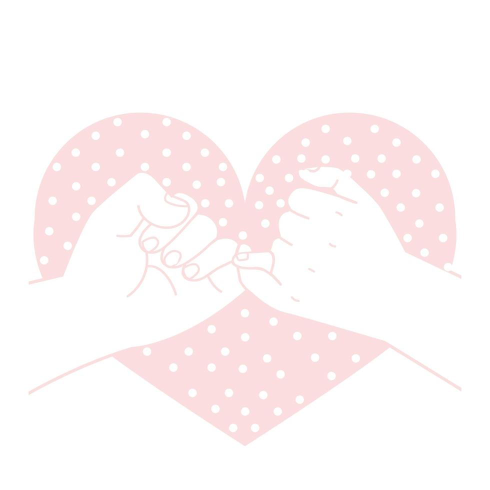 Hand gezeichnetes kleines Versprechen mit Herzformpunktkonzept vektor