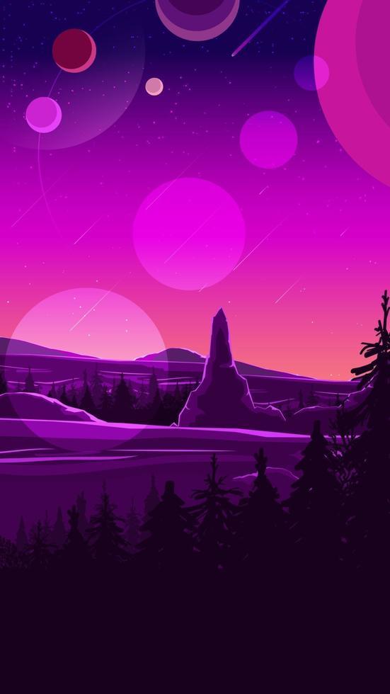 Weltraumlandschaft in lila Tönen, Natur auf einem anderen Planeten. Vektorillustration. vektor