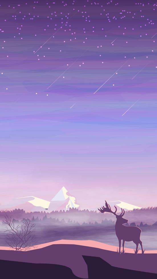 Abendlandschaft, Kiefernwald im Nebel, Hirsche und schneebedeckte Berge, Sternenhimmel mit Sternschnuppen. Vektorillustration vektor