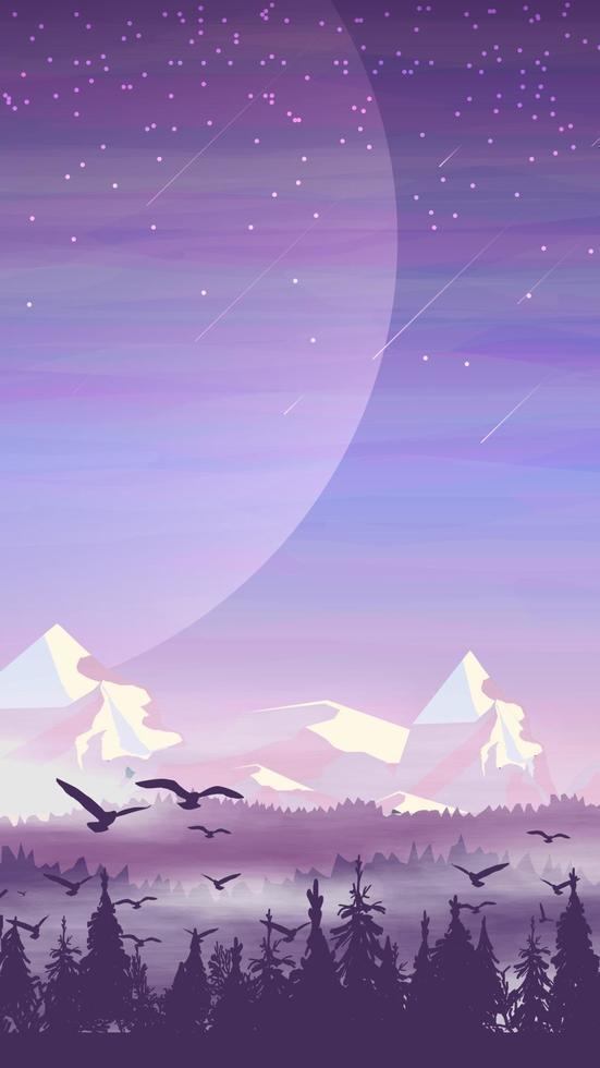 Kiefernwald, schneebedeckte Berge, Morgenlandschaft mit Sternenhimmel und großem Planeten am Himmel. Vektorillustration vektor