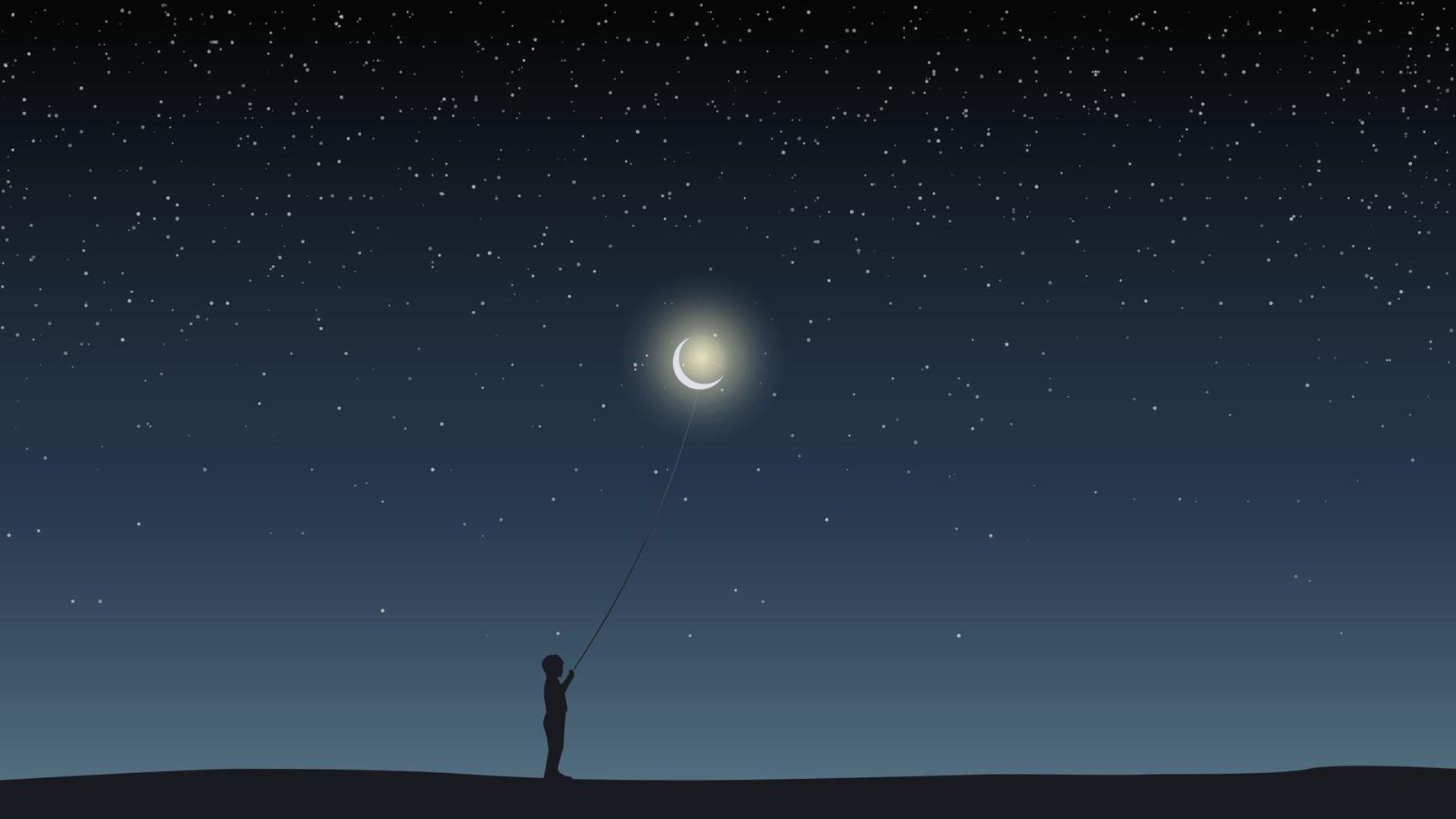 Sternenhimmel, Feld, Junge hält einen Ballon in Form des Mondes. vektor