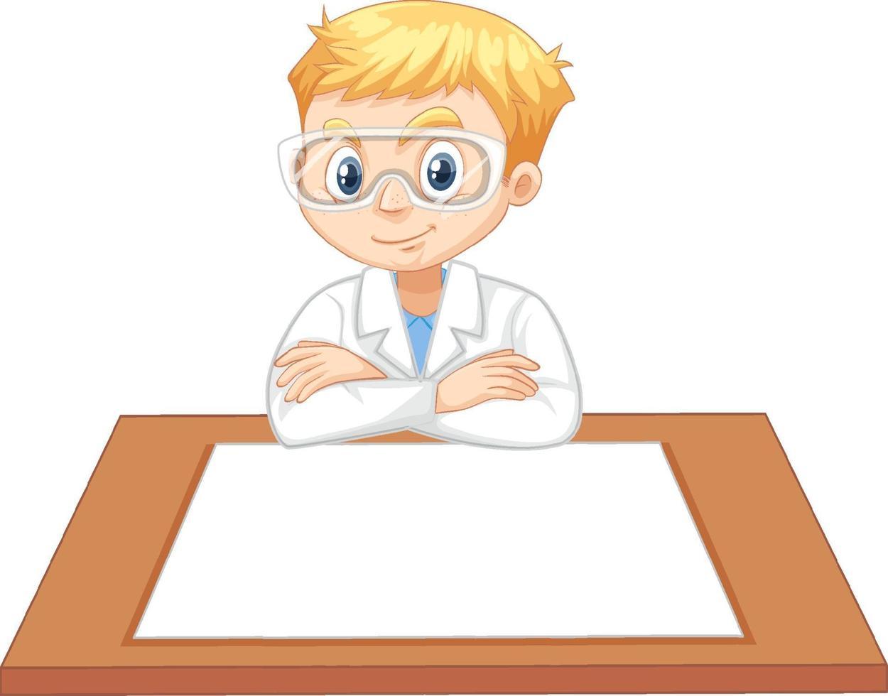 Ein Junge im Wissenschaftlerkleid mit leerem Papier auf dem Tisch vektor