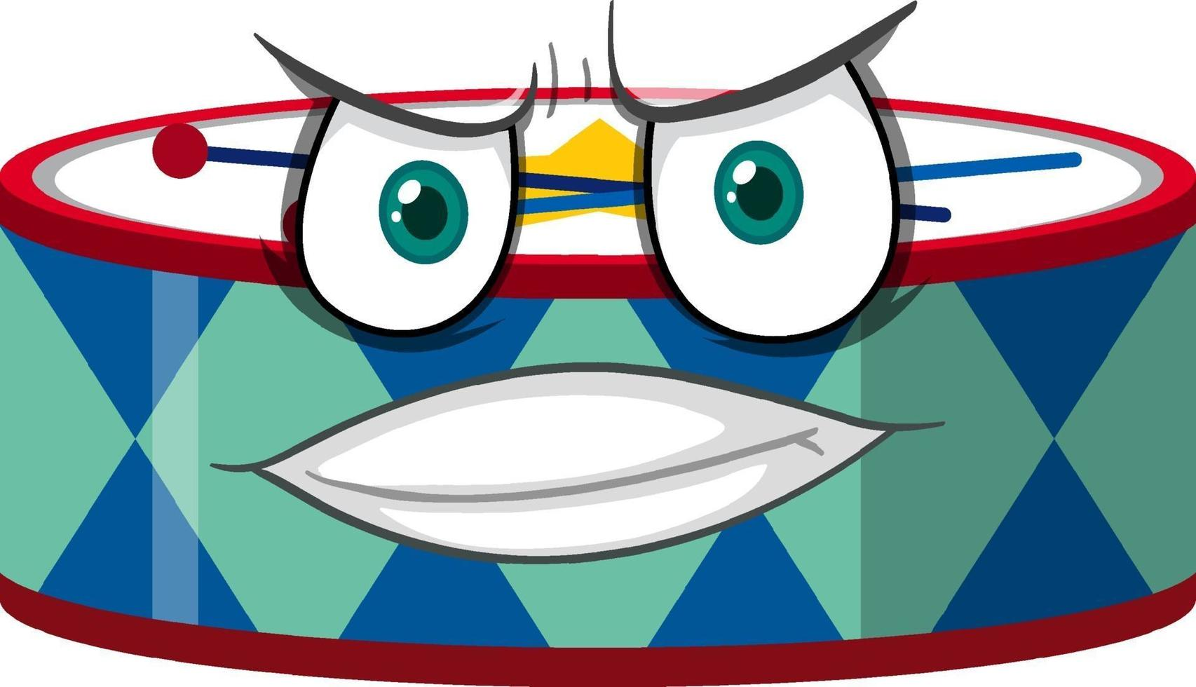 Trommel-Zeichentrickfigur mit Gesichtsausdruck vektor