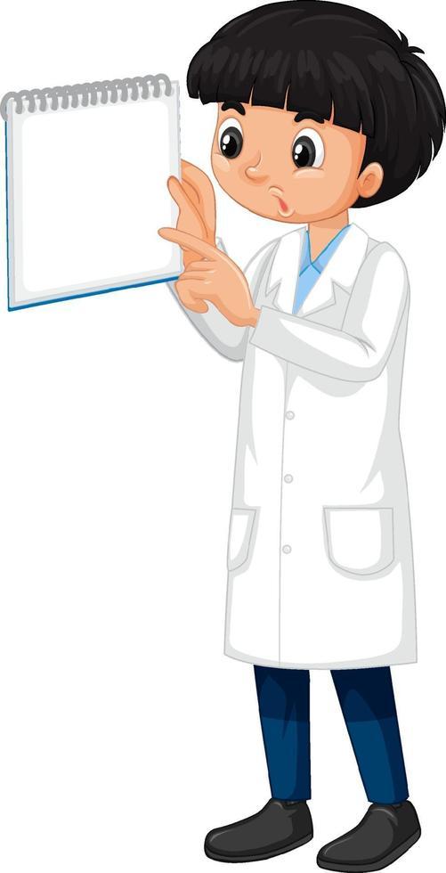 eine junge Zeichentrickfigur, die Laborkittel trägt vektor