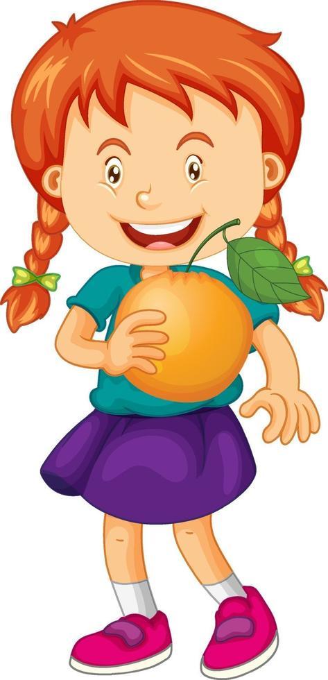 glückliche Mädchenkarikaturfigur, die eine Orange hält vektor