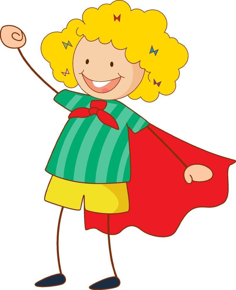 Superheld Mädchen Zeichentrickfigur in Hand gezeichnet Gekritzel Stil isoliert vektor