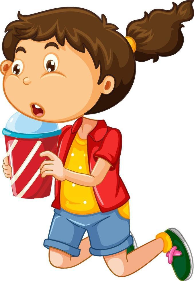 glückliche Mädchenkarikaturfigur, die einen Plastikbecher des Getränks hält vektor