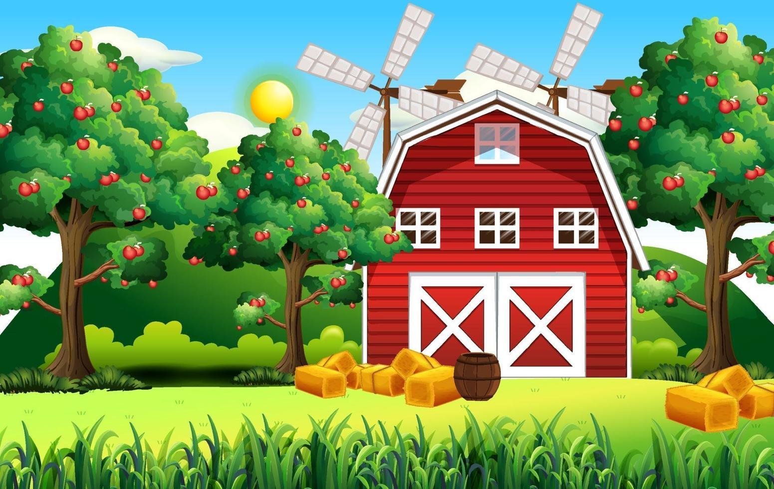 Bauernhofszene mit roter Scheune und Windmühle vektor