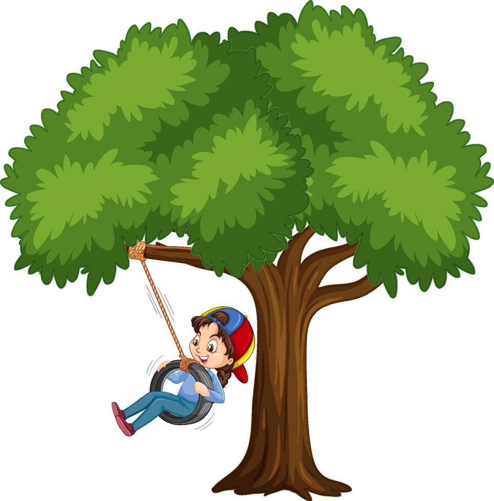 Kind, das Reifenschaukel unter dem Baum auf weißem Hintergrund spielt vektor