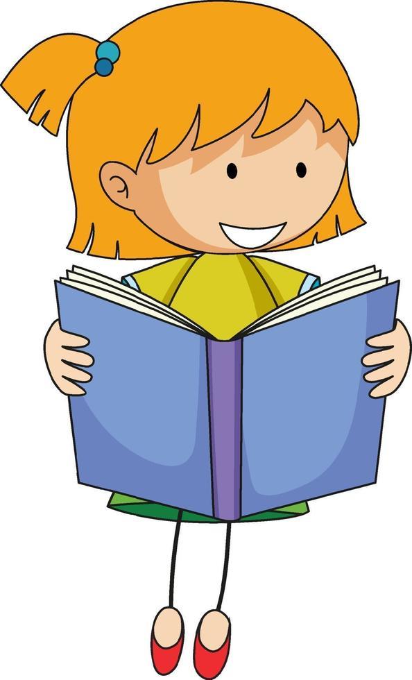 süßes Mädchen Lesebuch Gekritzel Zeichentrickfigur vektor