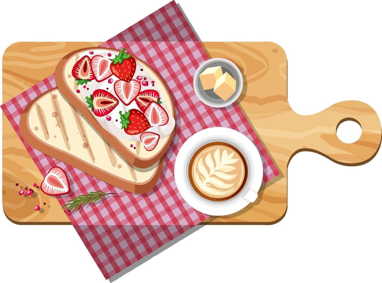 Draufsicht des Frühstückssatzes auf einem Schneidebrett isoliert vektor