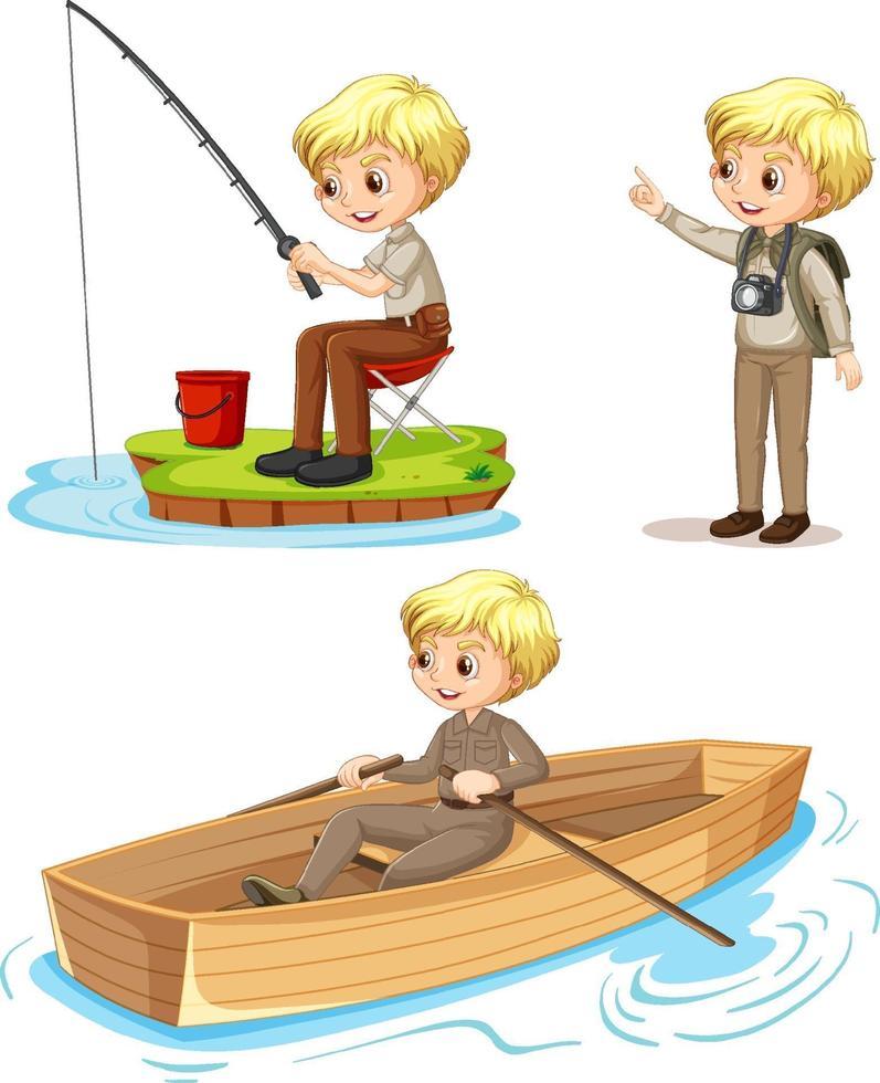 seriefigur av en pojke i campingkläder som gör olika aktiviteter vektor