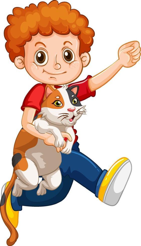 glad pojke seriefiguren kramar en söt katt vektor