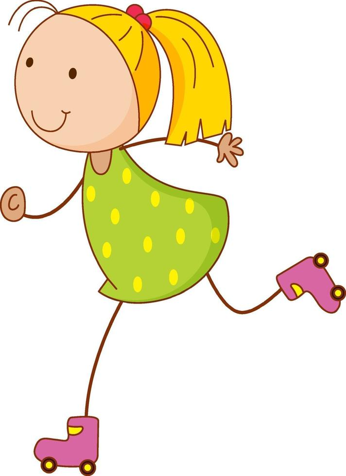 ein Mädchen Cartoon Charakter Rollschuhlaufen in Doodle-Stil isoliert vektor