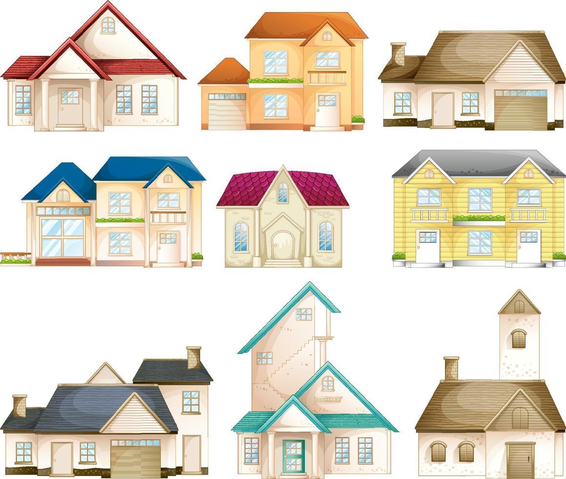 uppsättning av olika typer av hus isolerade vektor