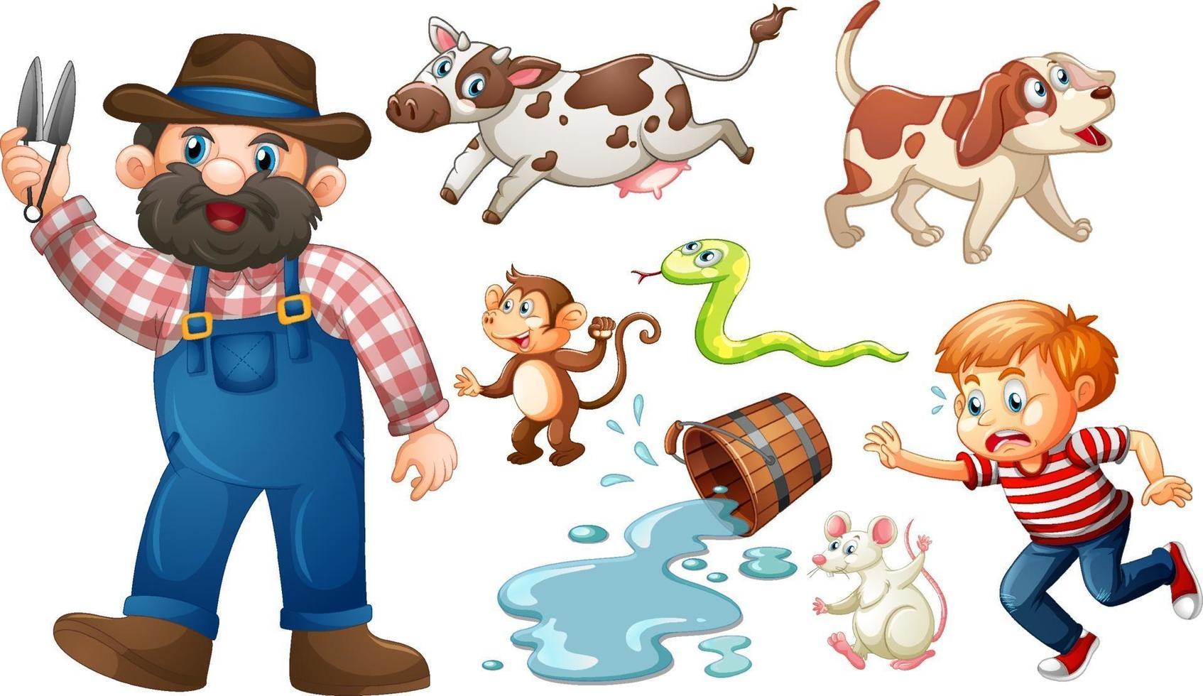 uppsättning fantasy karaktär och djur isolerad på vit bakgrund vektor