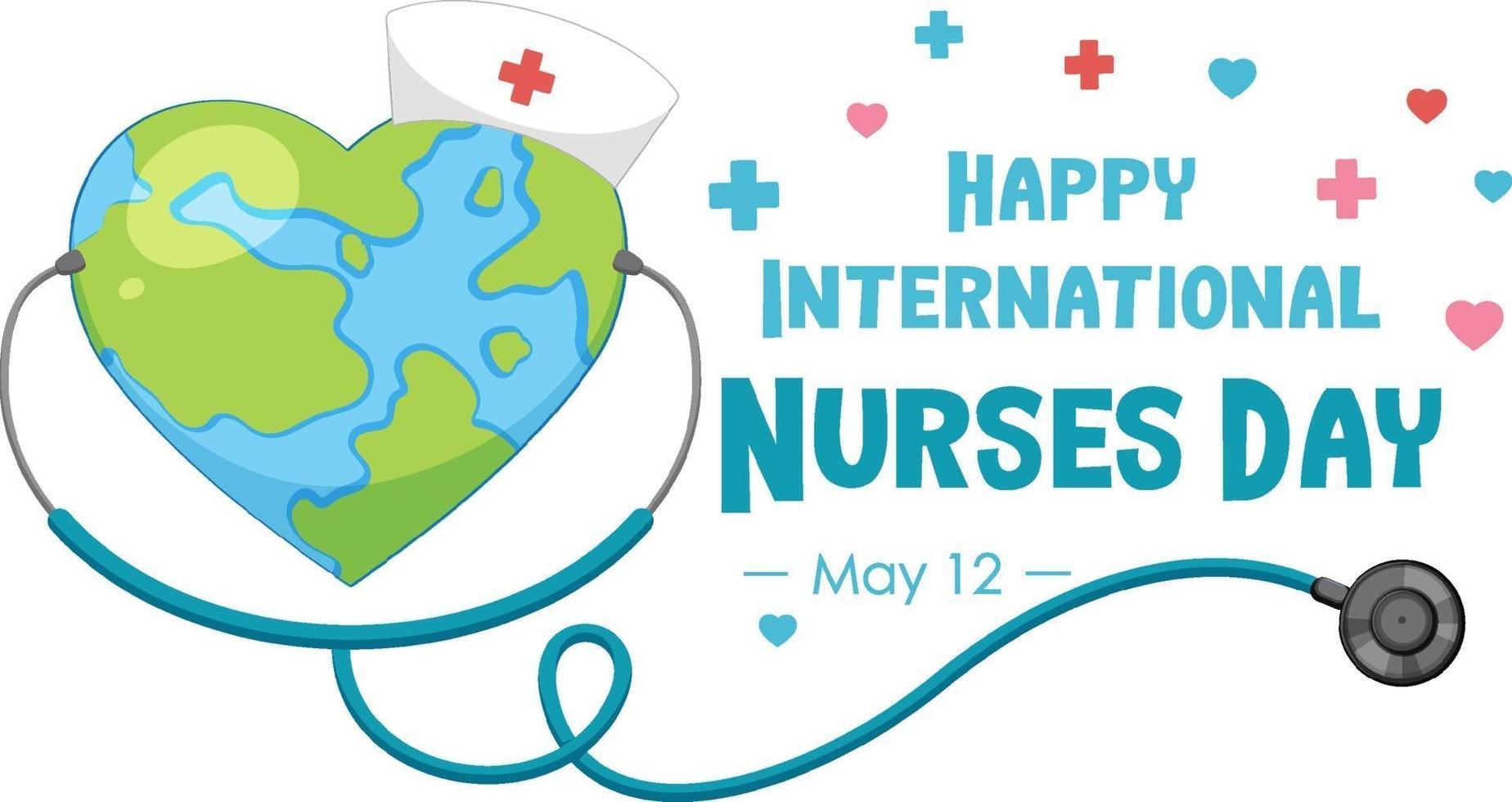 glückliche internationale Krankenschwestern-Tagesschrift mit der Erde in Herzform vektor