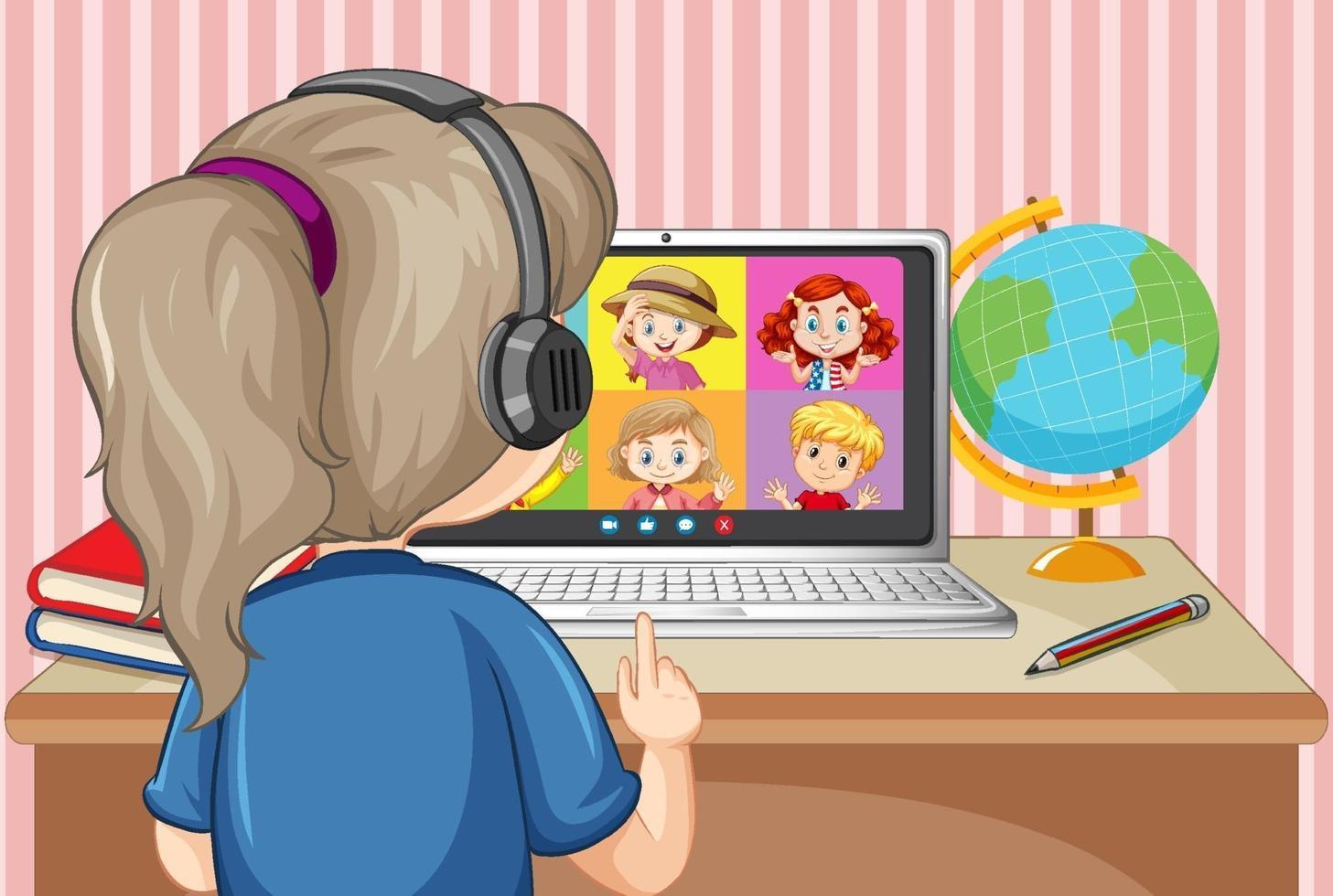 bakifrån av en tjej kommunicerar videokonferens med vänner hemma scen vektor